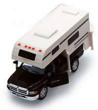 DODGE RAM PICKUP W/CAMPER BLACK 1/46 SCALE DIECAST CAR BY KINSMART 5503D