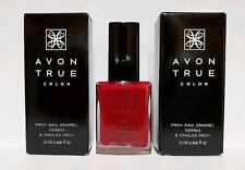 AVON True Color Pro+ Nail Enamel  ~ROYAL RED~  Creme Finish New in Box Lot of 2
