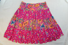 Chaps Womens Skirt Multi-Color Large Paneled Flared Floral Cotton Mid-Calf