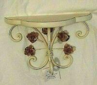 Home Interiors NIB Vintage Rose Accent Shelf White Crackle Finish Metal Wood