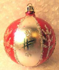 "ANTIQUE VINTAGE CHRISTMAS ORNAMENT POLAND STRIPES GLITTER FEATHER TREE 2.5"""