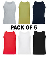 MEN VESTS 100% Cotton TANK TOP TRAINING SUMMER GYM TOPS PACK PLAIN S-2XL(5 PACK)