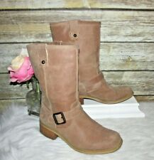 Jessica Simpson Tan Brown Suede Leather 7.5 B 37.5 Biker Buckle Mid Calf Boots