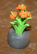 Playmobil végétation plante verte fleurs dans pot gris ref gg