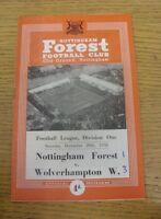 20/12/1958 Nottingham Forest v Wolverhampton Wanderers  (Light Crease, Score Not