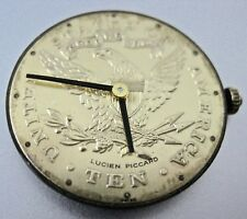 Vintage Lucien Piccard 1O Dollars  Gold Coin Dial watch wit movement cal 498