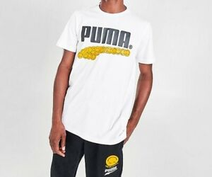 PUMA Tee Mens New Smile Like You Mean It Short Sleeve Graphic T Shirt White
