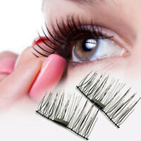 HOT 4 Pcs/1 Pair 3D Magnetic Natural Eyelashes Eye Makeup Handmade False Lashes