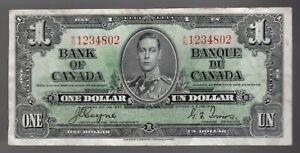 BANK OF CANADA 1937 $1 ONE DOLLAR Coyne-Towers KN Prefix