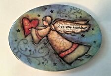 "Carson Home Accents Ceramic Mini Platter Shape Magnet ""Love one another"""