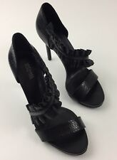 MICHAEL Michael Kors Bella Asymmetrical Platform Ruffle Black Sandals Women's 8