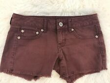American Eagle Maroon Stretch Jean Shorts Womens Size 2