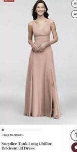 Davids Bridal Chiffon Surplice V-Neck Tank  Bridesmaid Dress Ballet Pink Size 4