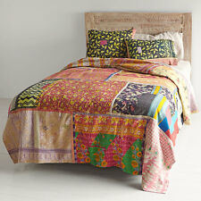 Twin Vintage Kantha Patchwork Quilt Blanket Throw Bedding Vintage Cotton Saree