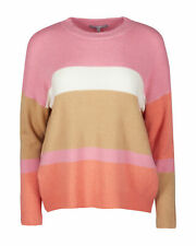 Oliver Bonas Women Colour Block Striped Pink Soft Touch Knitted Jumper 8