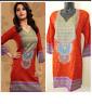 Indian Pakistani top kurti kurta tunic Printed long sleeves for Women NEW orange
