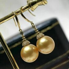 AAA Beautiful 11-12mm real natural south sea round Gold pearl earrings 18k Gold