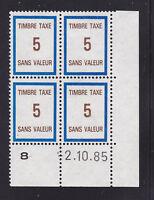 FRANCE TIMBRE FICTIF TAXE FT40 ** MNH, coin daté 2.10.85, TB