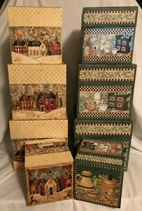"""LANG BOB'S DECORATIVE BOXES - S/4 - 9"""",8"""" 7"""", & 6"""" SQ - CHOOSE FROM ASST DESIGNS"""