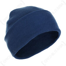 Blue Winter Wool Cap - Woolly Beanie Knitted Hat Navy Outdoor Fishing