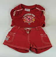 Build a Bear Red Limited Too 2pc Shorts Set Rare & HTF A66