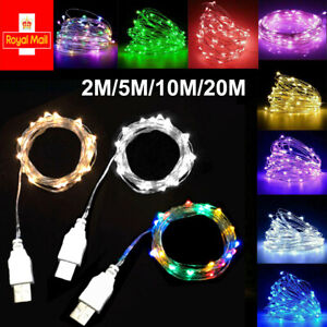 USB LED String Fairy Lights Micro Rice Wire Copper Home Xmas Christmas Party