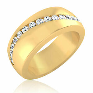 14K Yellow Gold Men's Band 0.37 Carat Real Diamond Engagement Rings Size R s T U