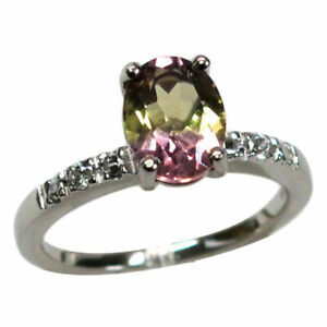 ADORABLE 2 CT OVAL CUT AMETRINE 925 STERLING SILVER RING SIZE 5-10