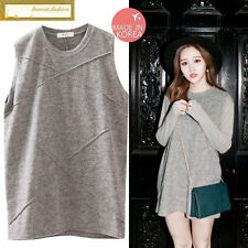 Japan made in Korea Women Fashion Gray Grey Vest Sleeveless Tops Tee Blouses New