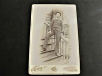 1890's- Happy Man Standing on Stairs- Cabinet Photo by Eaton Studio-Chicago.