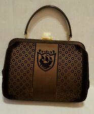 Vintage Marshall Fields Purse Italy Brown Velvet Doctor Bag Ship Brevettato RARE