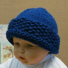 Knitted Baby Winter Beanie, Blue Chunky Wool Hat, Photo Prop, Skull Caps