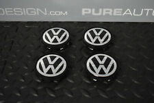 VW Center Caps x 4 Gloss Black And Chrome Badge 63mm 7D0 601 165