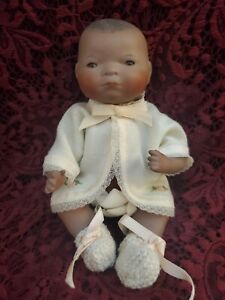 Vintage Reproduction Dark Skin Bye-Lo All Bisque Baby By Mary Kaye Adorable