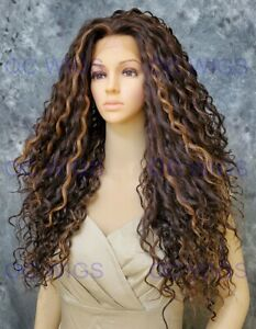 Long Full Spiral Curls Heat OK Lace Front Human Hair Blend Wig Brown/Blonde OCEI