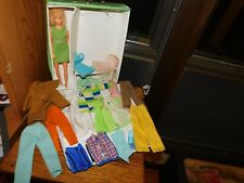 1968 Mattel Barbie Case + Hong Kong Clone Doll + Handmade Clothes + Tagged Coat