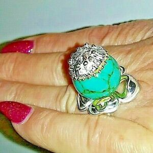 Genuine Super Cute Turquois Ring Size 7.5 > 925 Sterling Silver/ Gold