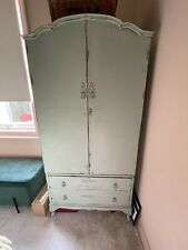 SMALL VINTAGE FRENCH STYLE GREEN PAINTED WARDROBE