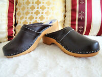 Dark Chokolade Leather Wooden Clogs Swedish classic style handmade Sabots