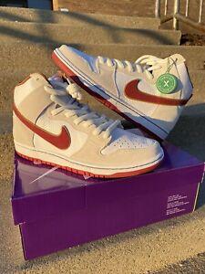 "Nike SB Dunk High ""sail"" Bright Crimson DS OG ALL Size 11 Mens ""philly Blunts"""
