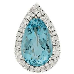 White Gold Plated Full Cut Diamond Blue Topaz Brooch Pin Sterling Silver Jewelry