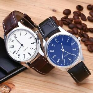 Mens Watch Wrist Watches Quartz Casual Analogue Leather S Steel Uk Black Brown