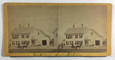 Antique Stereoview Card Outdoors w House & Carriage A J Whittemore Rochester NH