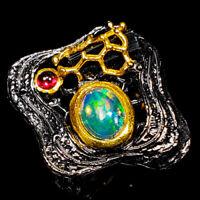 Opal Ring Silver 925 Sterling Unique fine art Design Size 8 /R143066