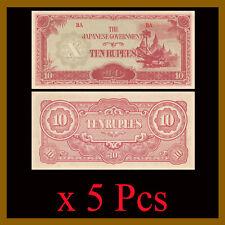 Burma 10 Rupees x 5 Pcs, 1942-1944 P.16b Japanese Occupation WWII (AU)