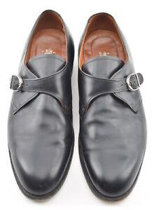 ALDEN 10.5D BLACK CALFSKIN MONK STRAP DRESS SHOES 955