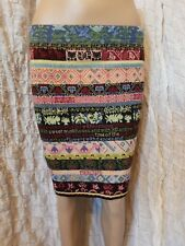 Kenzo multi coloured 100% wool knitted mini straight skirt size S