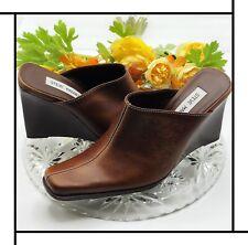 Vintage 90s Steve Madden Brown Leather Chunky Wedge Platform Close Toe Shoes 7.5
