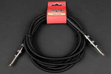 10FT WOVEN INSTRUMENT CABLE 1/4 INCH GUITAR BASS BLACK LIFETIME WARRANTY