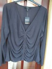 NWT~Forever 21~Ladies soft modal/polyester Long Sleeved Top navy size 24 ruched